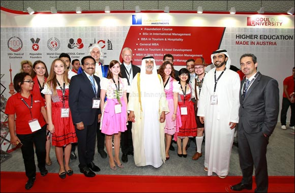 MODUL University Dubai welcomes H.H. Sheikh Nahyan bin Mubarak Al Nahyan at GETEX 2016