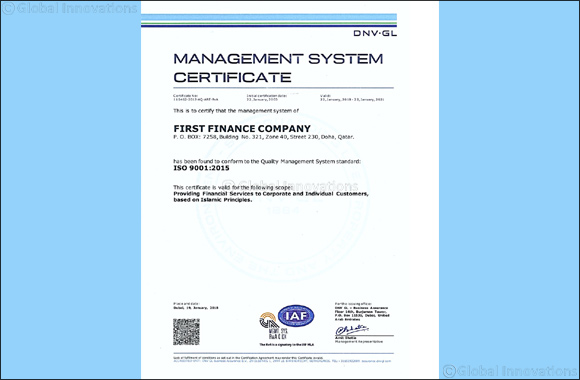 First Finance Company receives ISO 9001:2015 certification