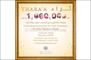 Barwa Bank announces the April draw winners  of its Thara'a savings account prize
