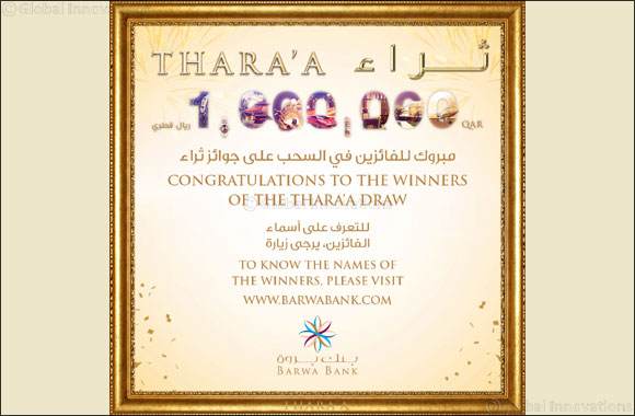 Barwa Bank announces the September draw winners  of its Thara'a savings account prize'