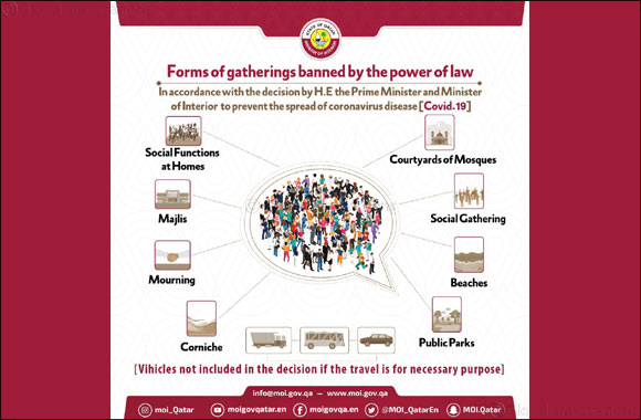"Awareness Poster from Ministry of Interior on ""Forms of Gatherings Banned by the Power of the Law"