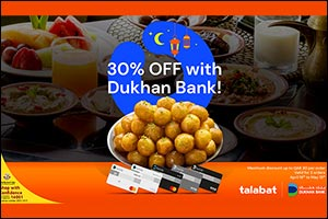 Dukhan Bank Ties Up with Talabat to Offer customers 30% Off on Orders